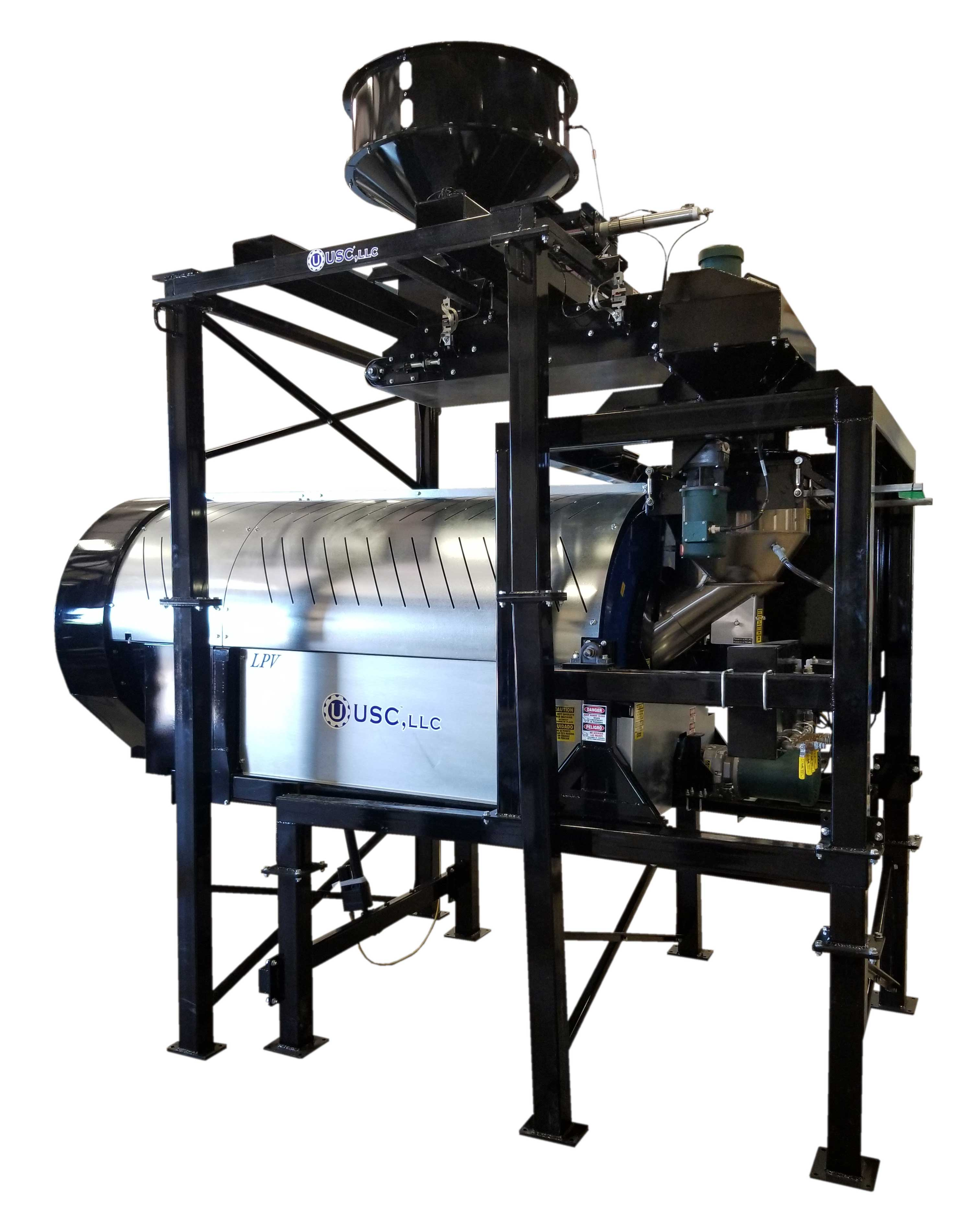 Image of a High Capacity LPV Seed Treater on a white background.